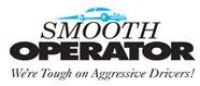 "Smooth Operator logo with a blue car and text that reads, ""We're tough on Agressive Drivers&#3"